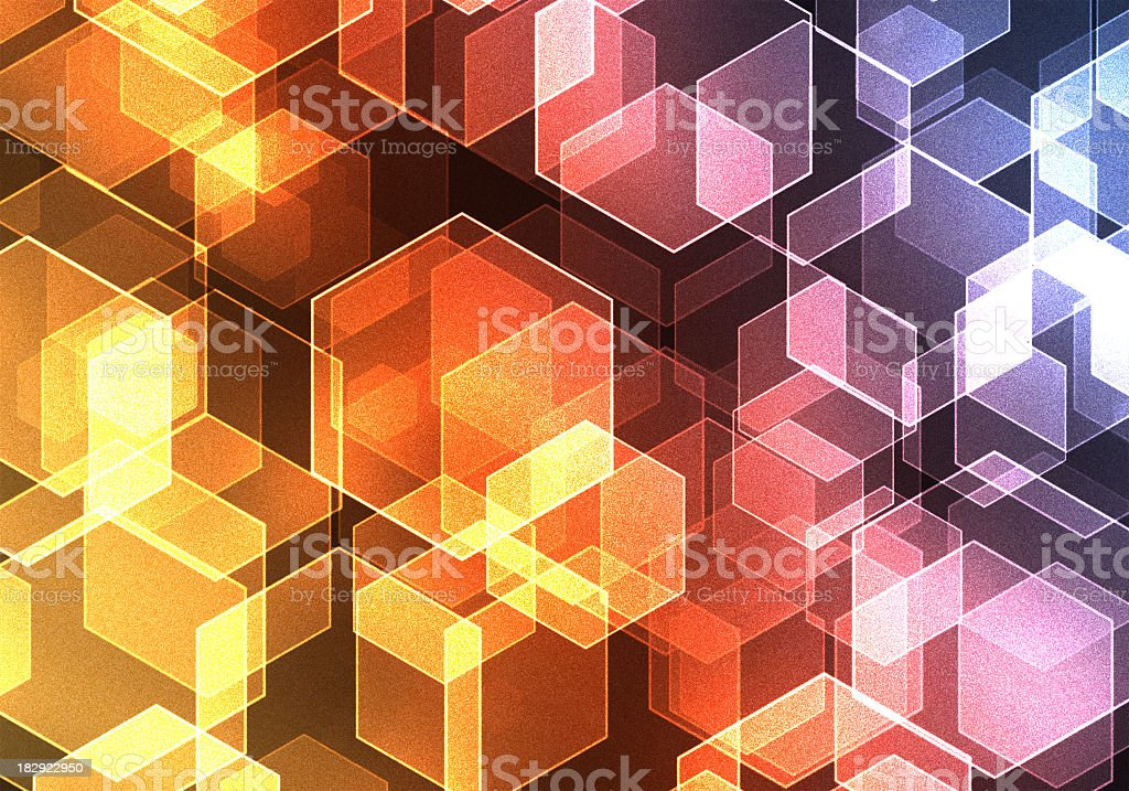 grainy retro hexagonal lights background illustration royalty-free stock photo