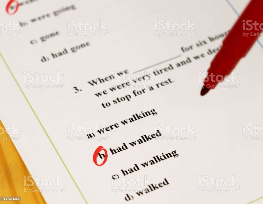 grammar test stock photo