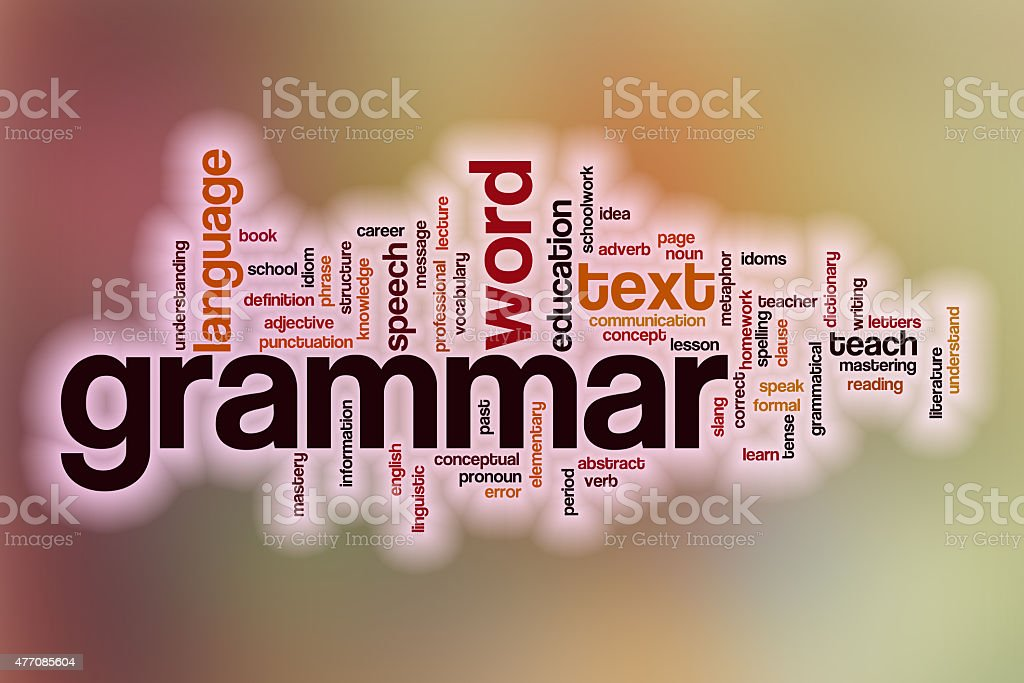 Grammar word cloud with abstract background stock photo