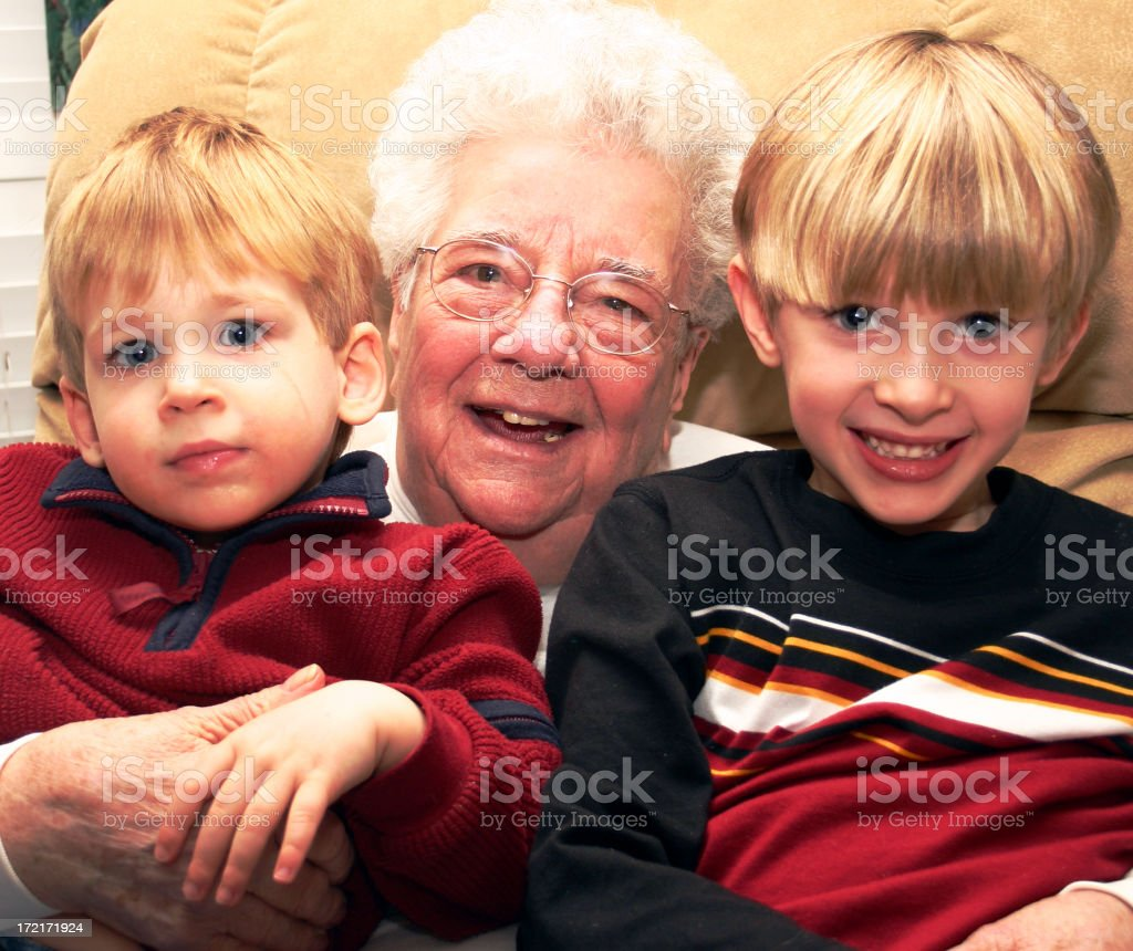 Grammy E with the boys royalty-free stock photo