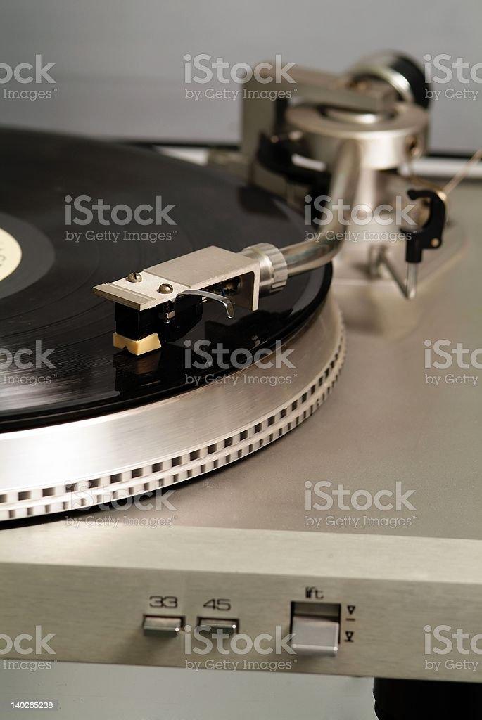 gramophone and black vinyl 7 royalty-free stock photo