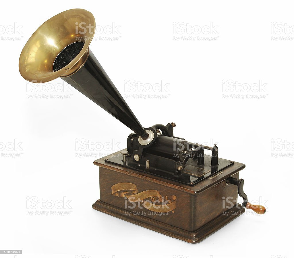 Gramophone on white background stock photo