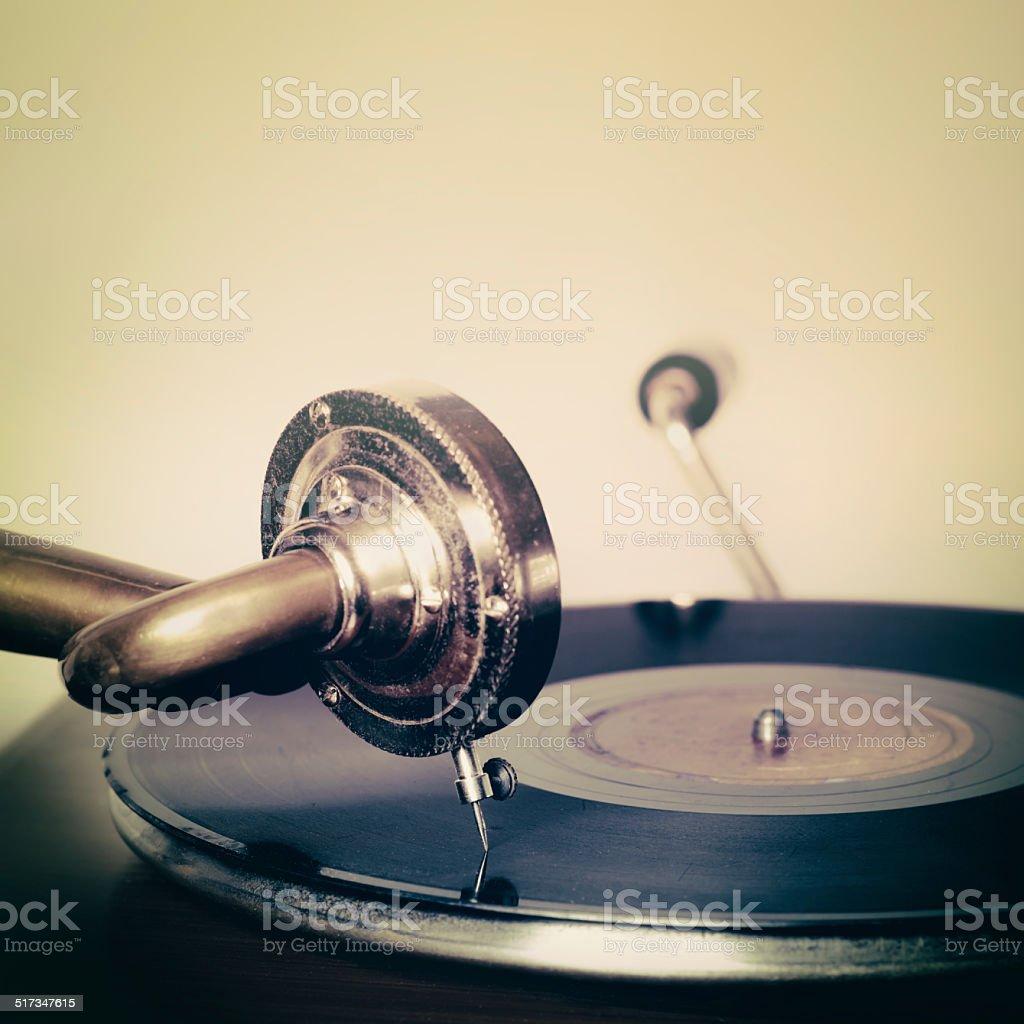 Gramophone record needle music vintage style stock photo
