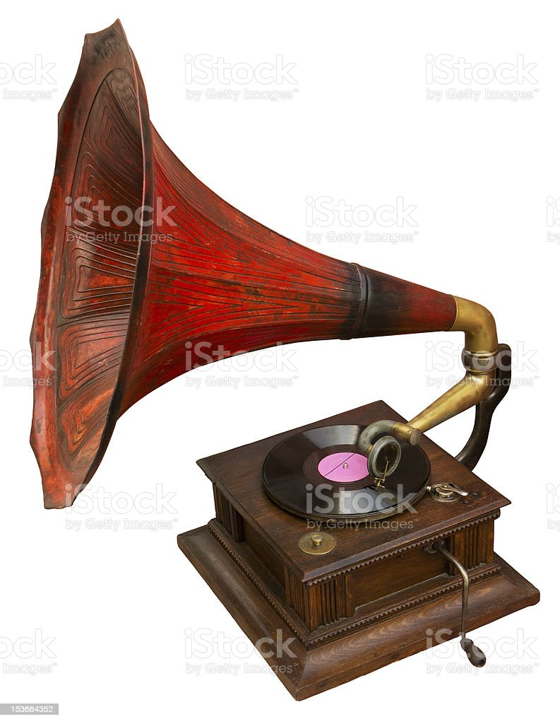 Gramophone with red horn royalty-free stock photo