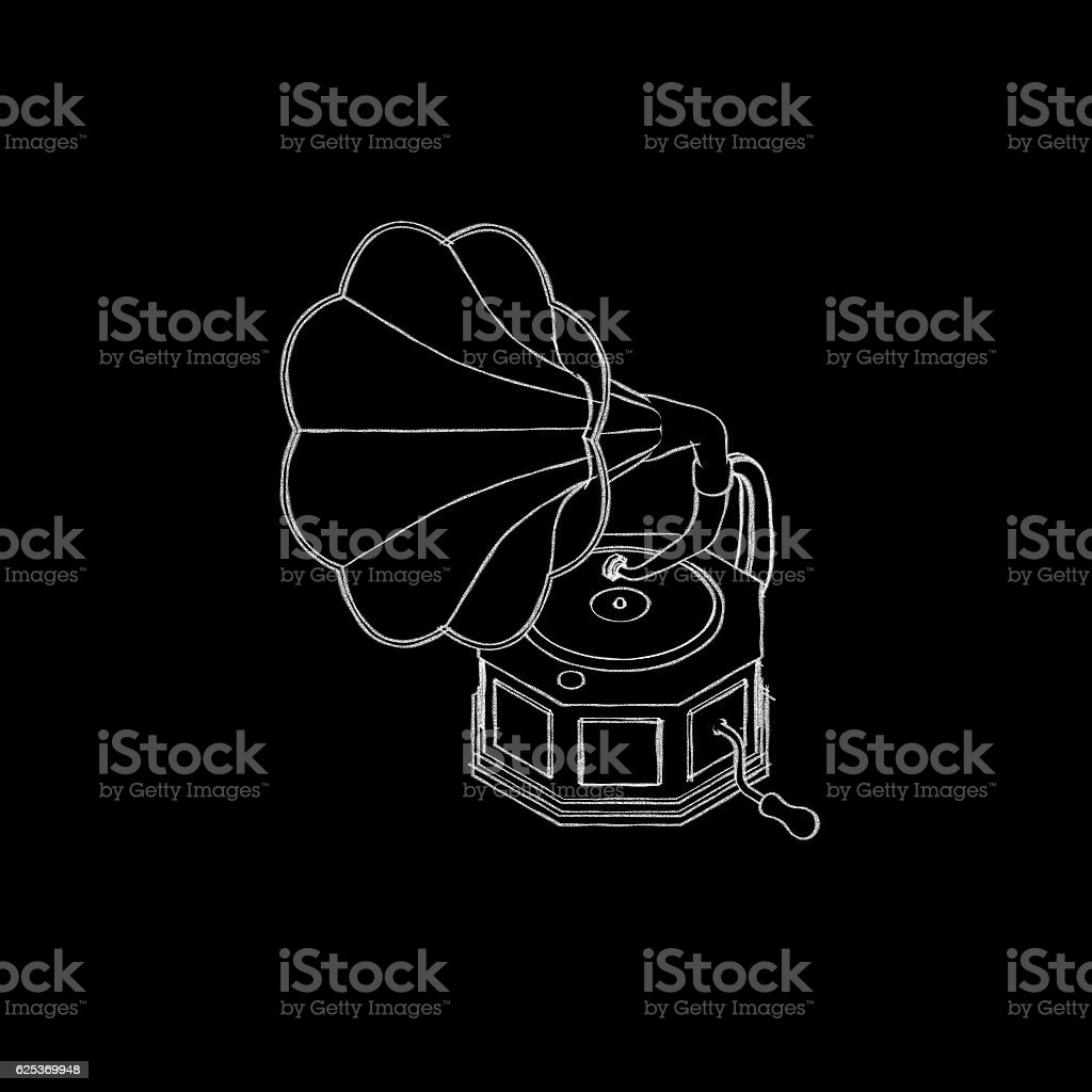Gramophone.Isolated on black background. stock photo