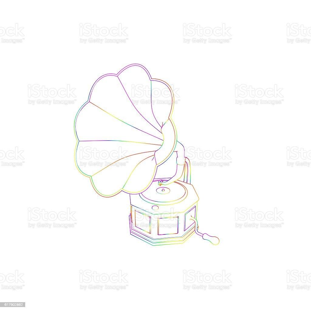 Gramophone.Isolated on white background. Sketch illustration. stock photo