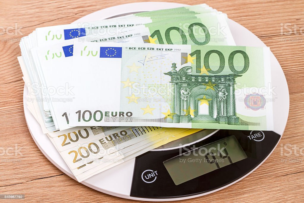 94 grams of euro banknotes stock photo