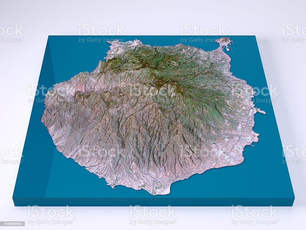 Gran Canaria 3D Model Topographic Map Natural Color Frontal stock photo