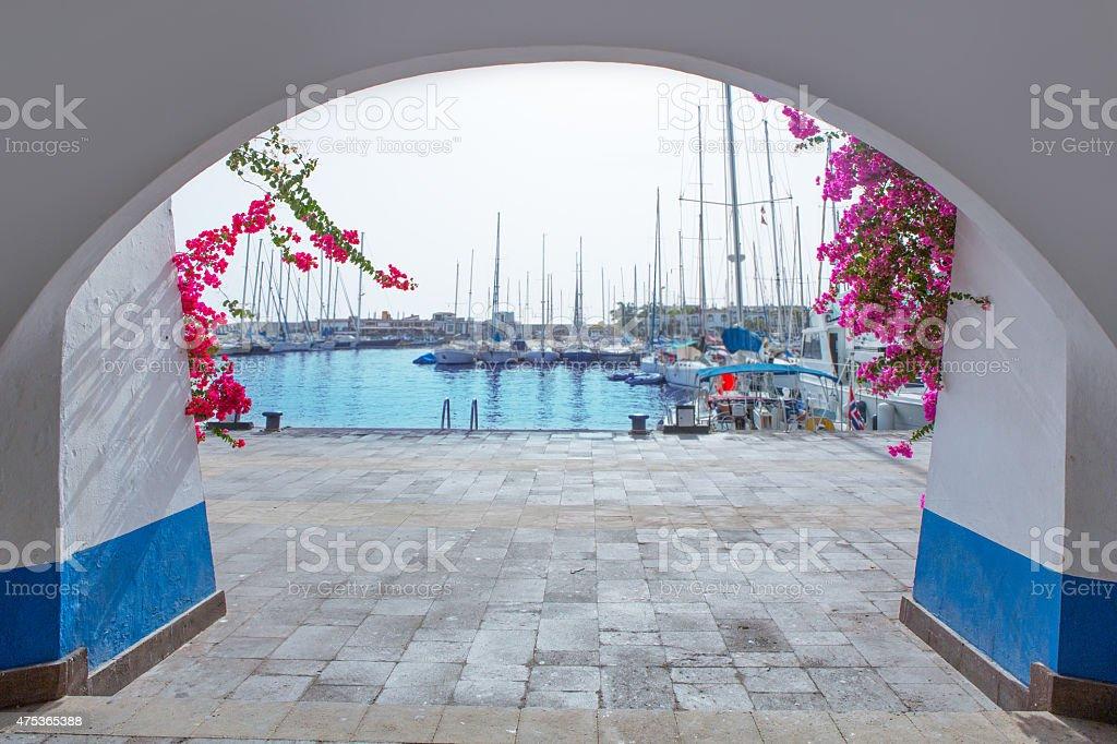 Gran canaria Puerto de Mogan marina boats stock photo
