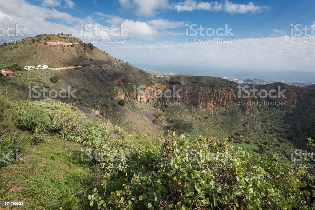 Gran Canaria Volcanic crater, Caldera de bandama. stock photo