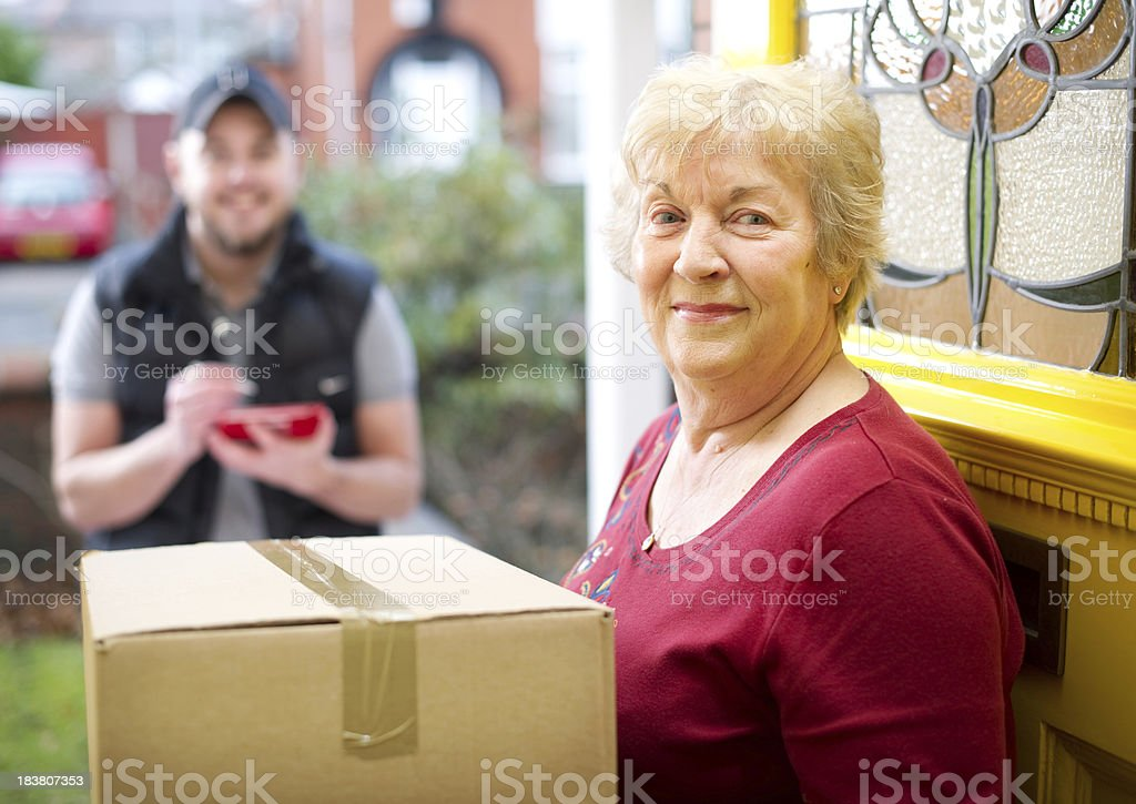 Gran pleased with her delivery stock photo