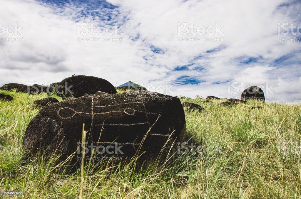 Gran sabana Venezuela Petroglyph stock photo