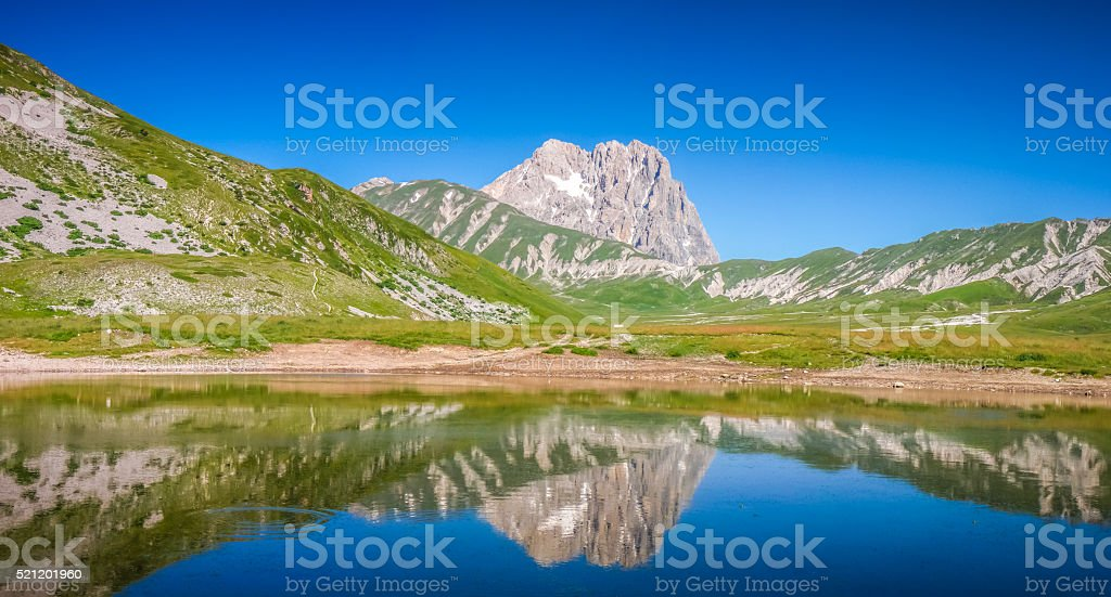 Gran Sasso mountain summit at Campo Imperatore plateau, Abruzzo, Italy stock photo