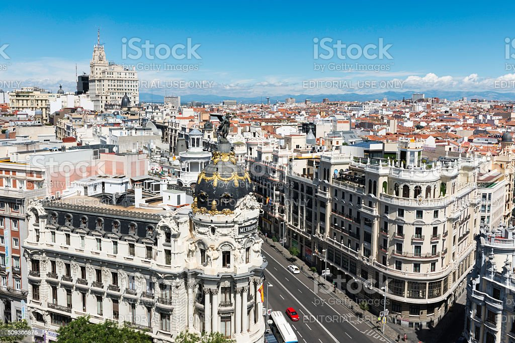 Gran Via and aerial view of Madrid stock photo