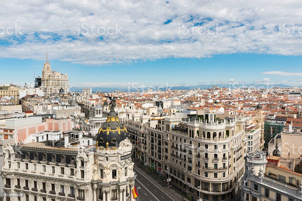Gran Via and Madrid skyline from above stock photo