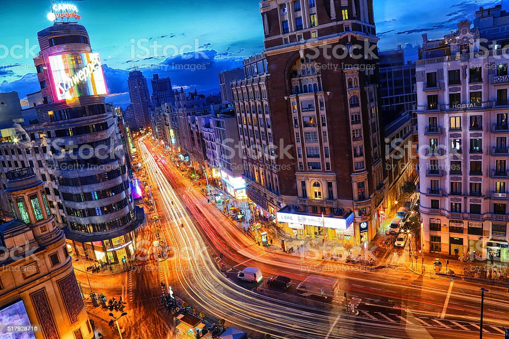 Gran Via at night stock photo