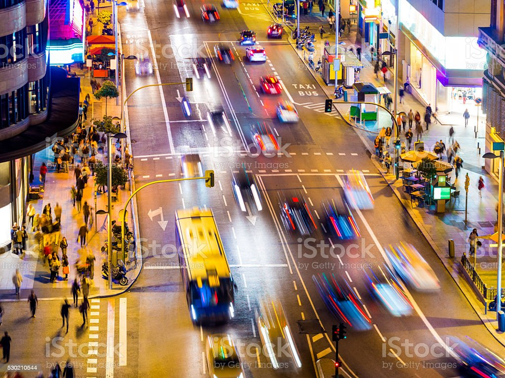 Gran Via in Madrid, Spain at night stock photo
