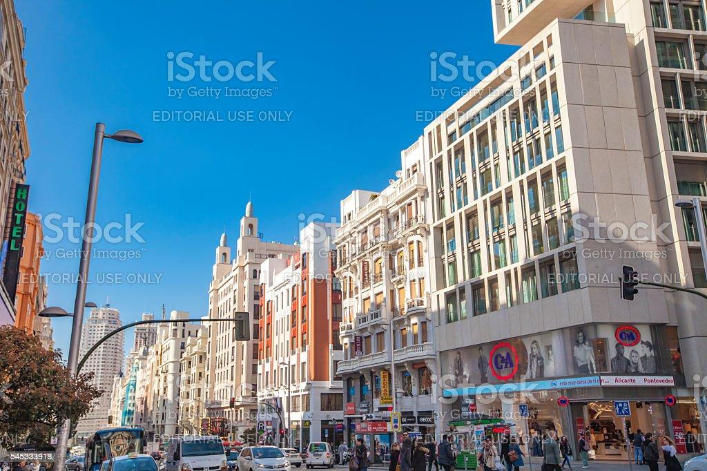 Gran Via in Madrid, Spain stock photo