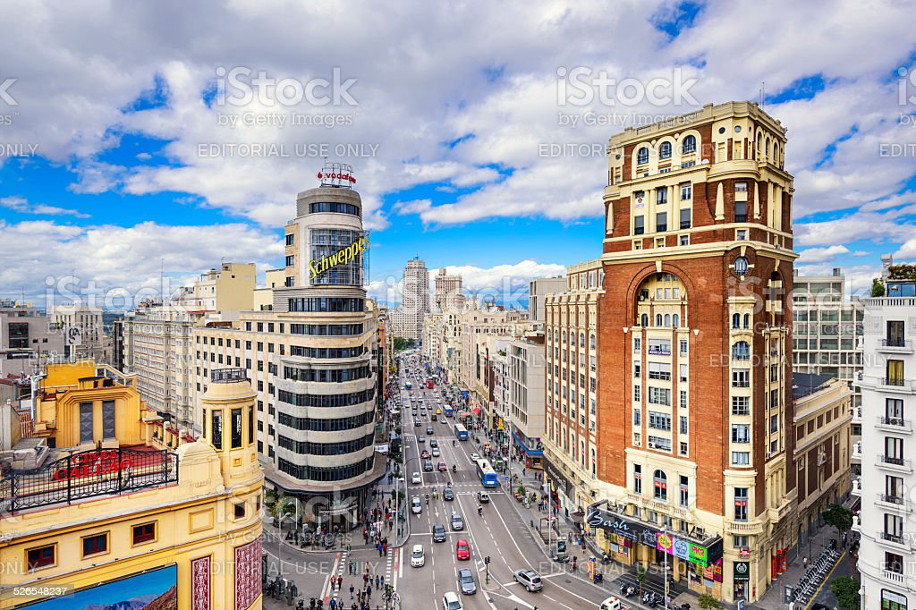 Gran Via, Madird, Spain Cityscape stock photo