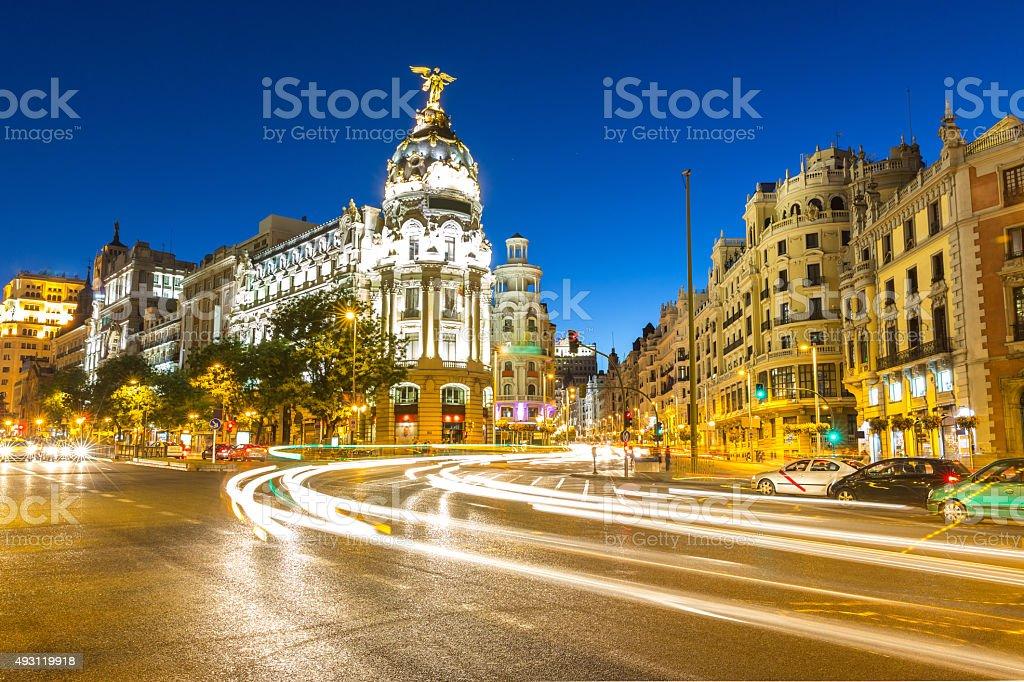 Gran Via Madrid stock photo