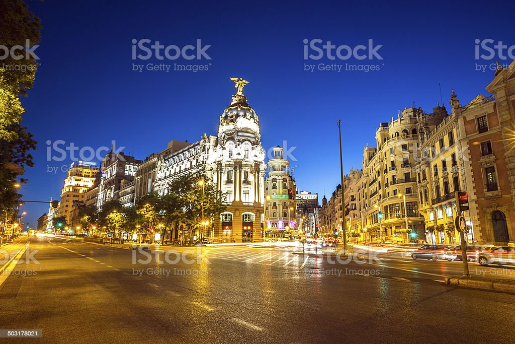 Gran Via Madrid stock photo