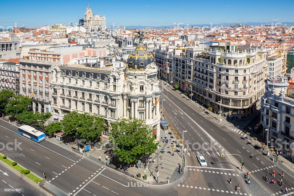 Gran Via Madrid Spain stock photo