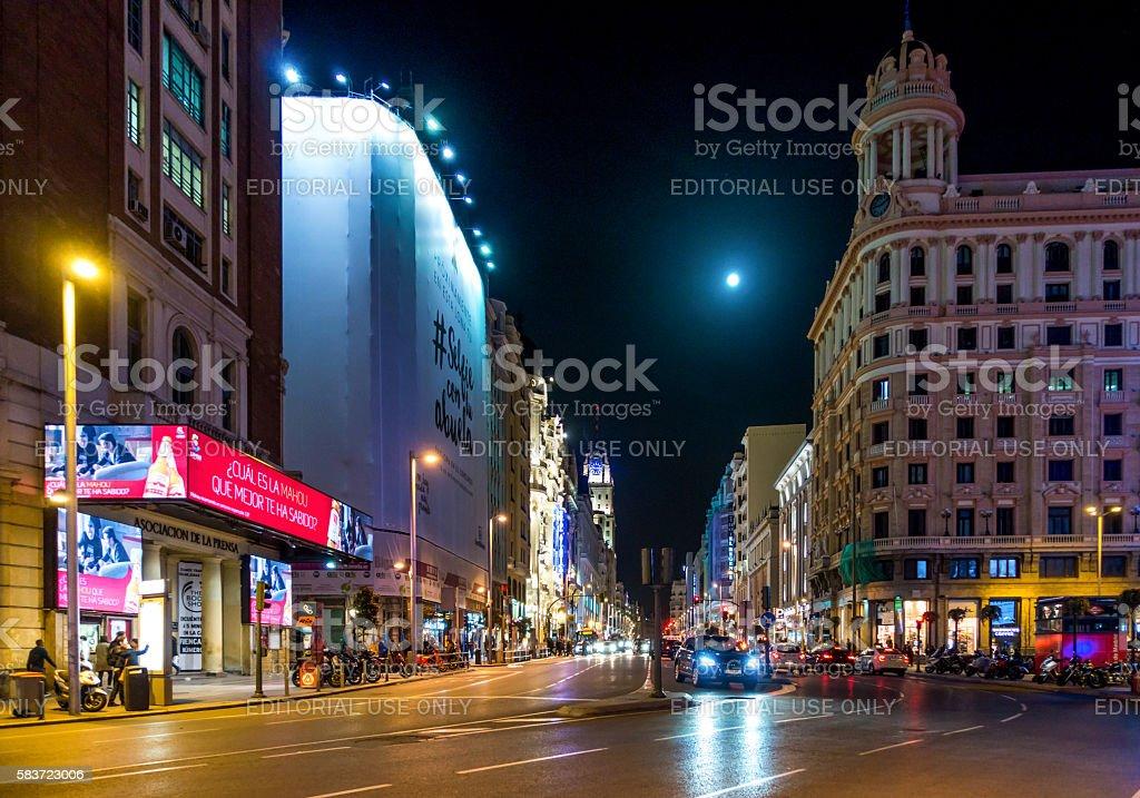 gran via madrid street center night horizontal vehicles bus car stock photo