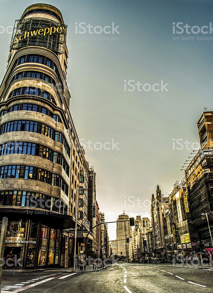 gran via madrid without people with ads corner stock photo