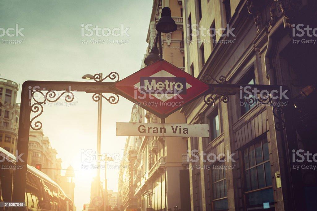 Gran via Metro sign in Madrid stock photo