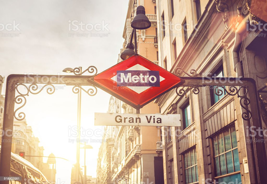 Gran via Metro sign in Madrid stock photo