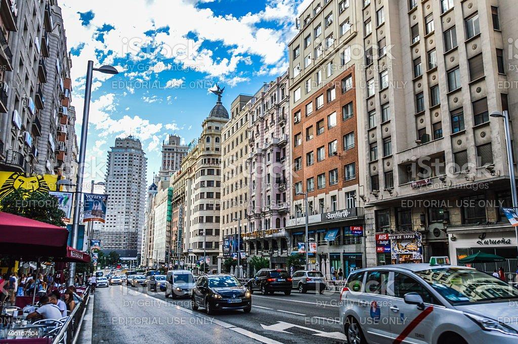 Gran Via street in Madrid, Spain stock photo