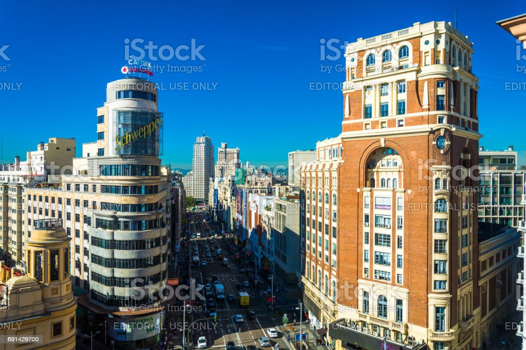 Gran Via View in Central Madrid with Buildings stock photo