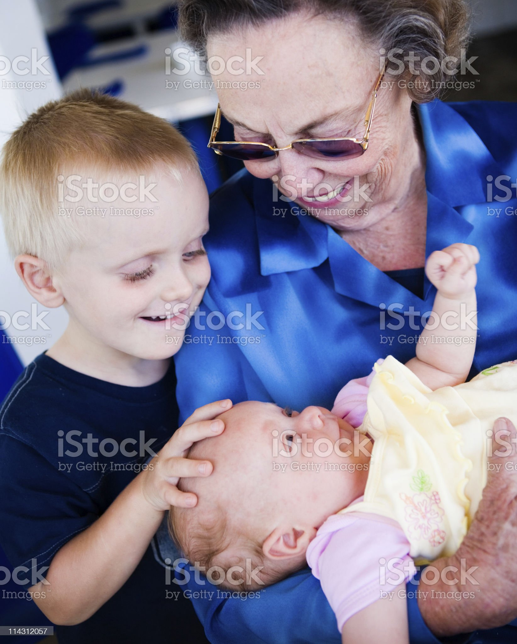 Gran with grandkids royalty-free stock photo
