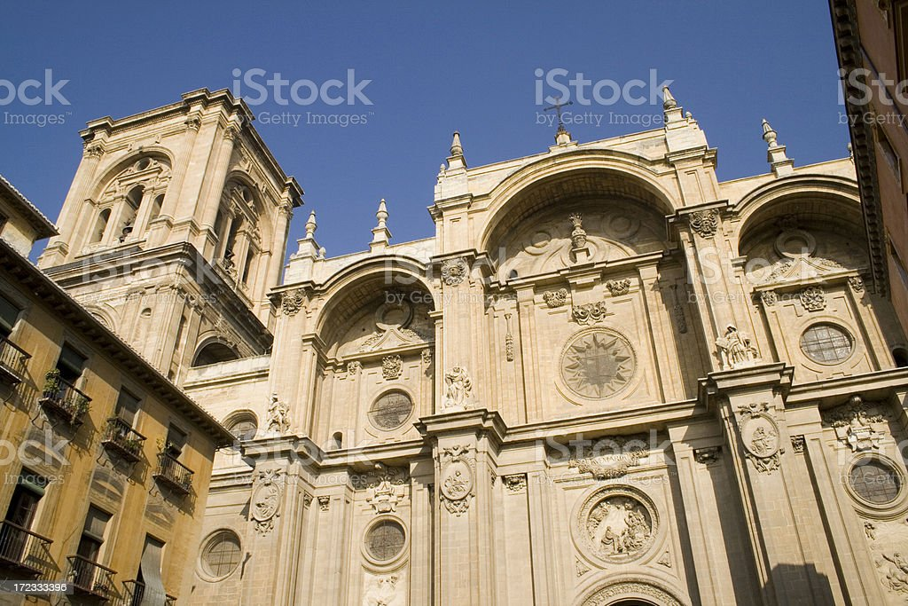 Granada Cathedral facade - Spain stock photo
