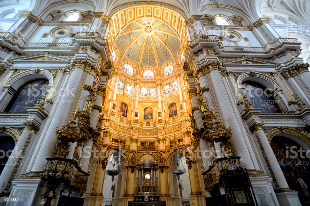 Granada Cathedral interior stock photo