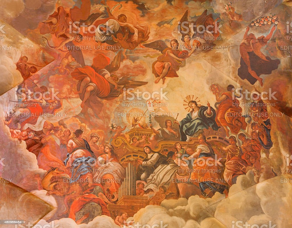 Granada - ceiling fresco in Basilica San Juan stock photo