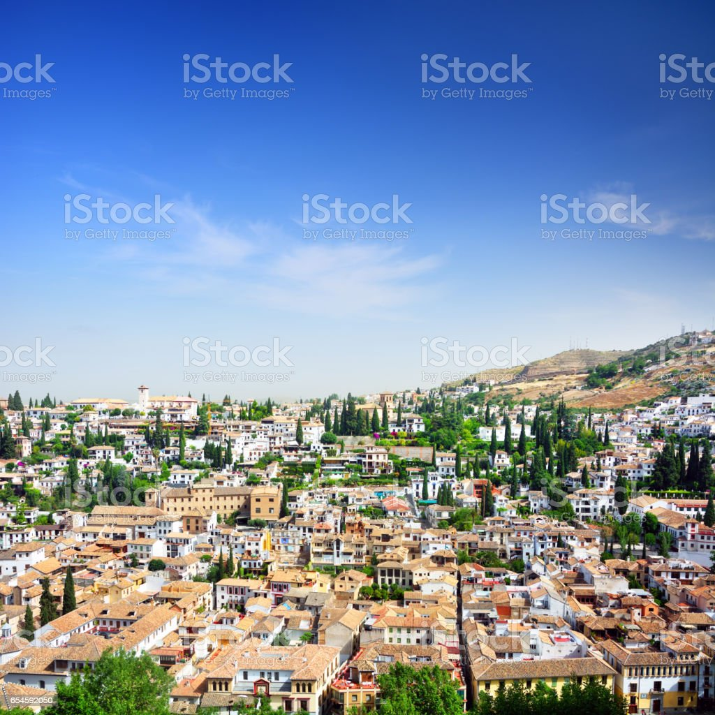 Granada from the Alhambra, Spain stock photo