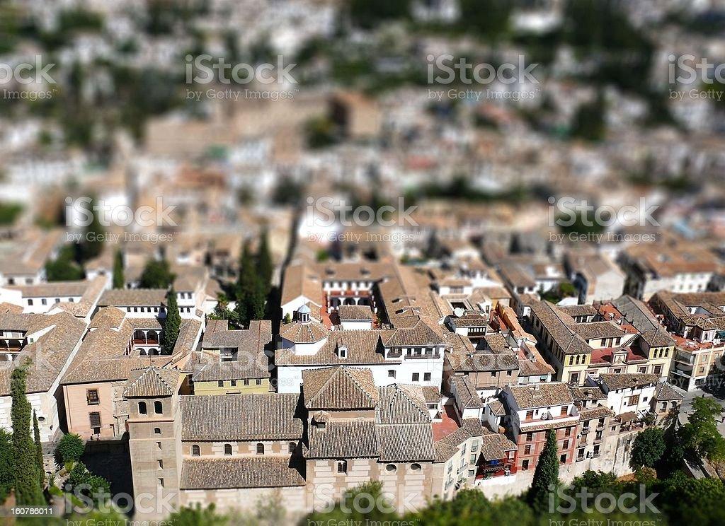 Granada mittelalterlichen Christen und Moslems Stadt-tilt-shift-Bilder Lizenzfreies stock-foto