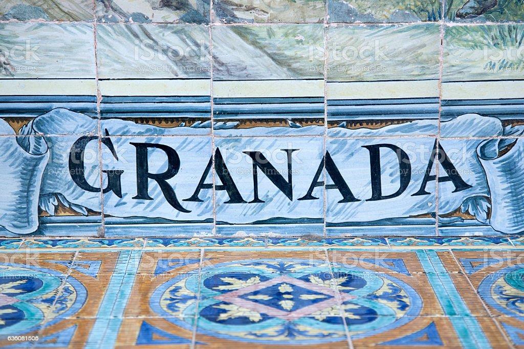 Granada Sign, Plaza de Espana Building, Seville stock photo