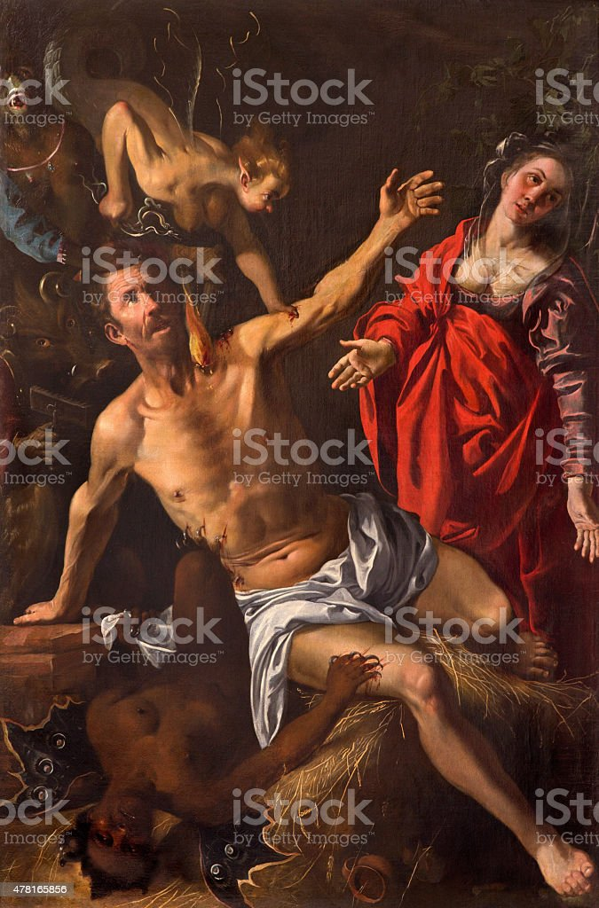 Granada - symbolic battle of the soul with demons stock photo
