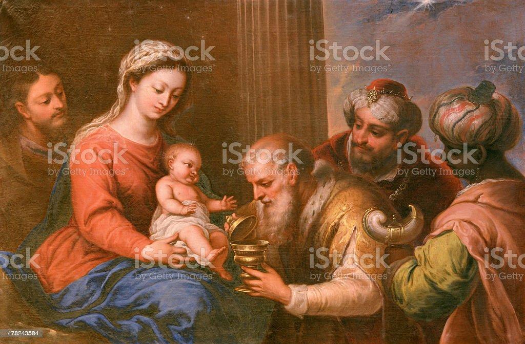 Granada - The Adoration of Magi painting stock photo