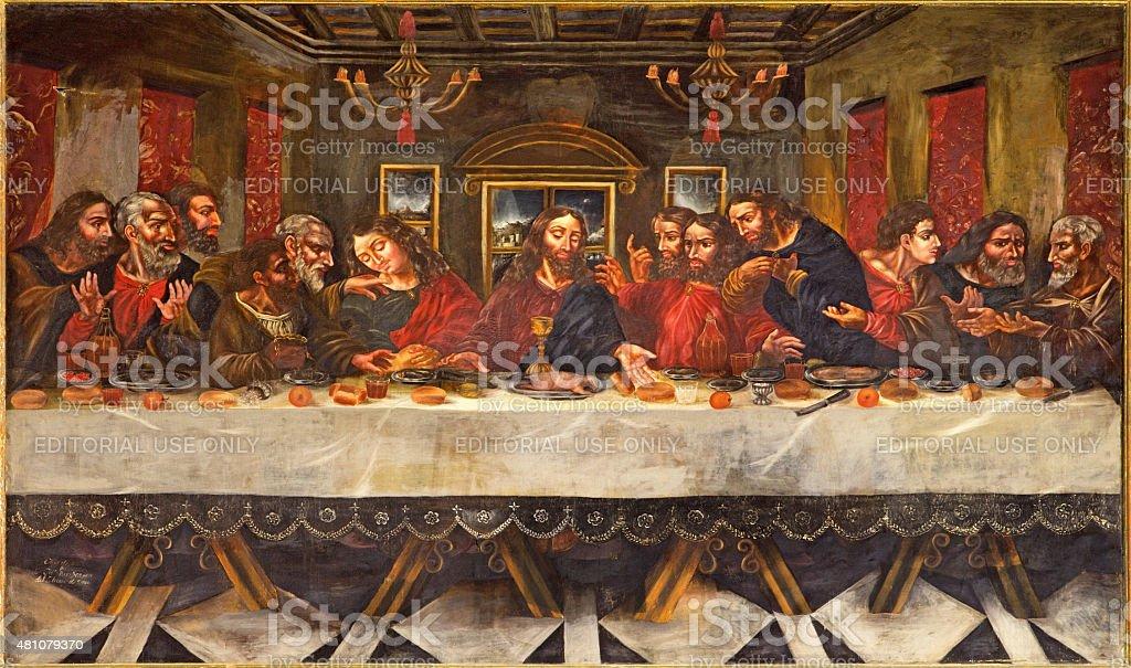 Granada -  The Last supper painting stock photo