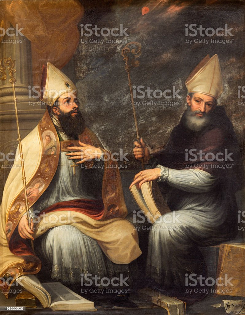 Granada - The paint of St. Ambrose and Saint Augustine stock photo