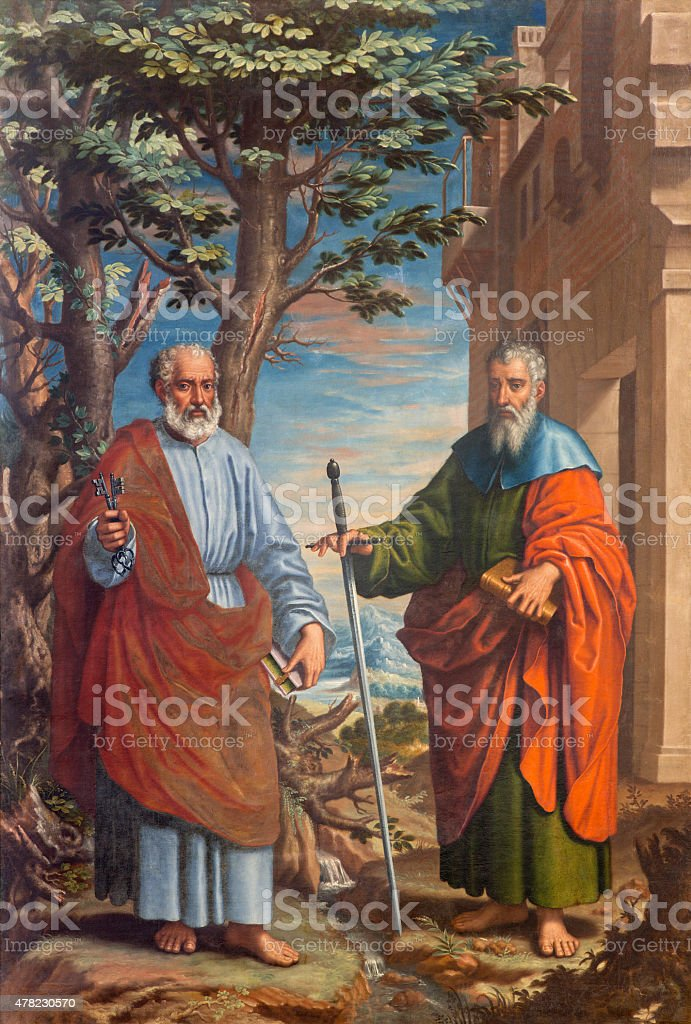 Granada - The painting of St. Paul and Peter stock photo