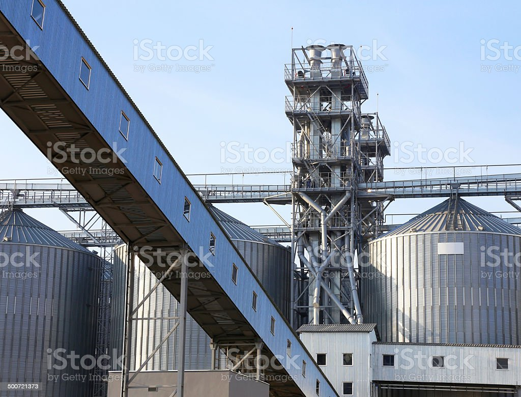 Granaries for storing wheat and other cereal grains. stock photo