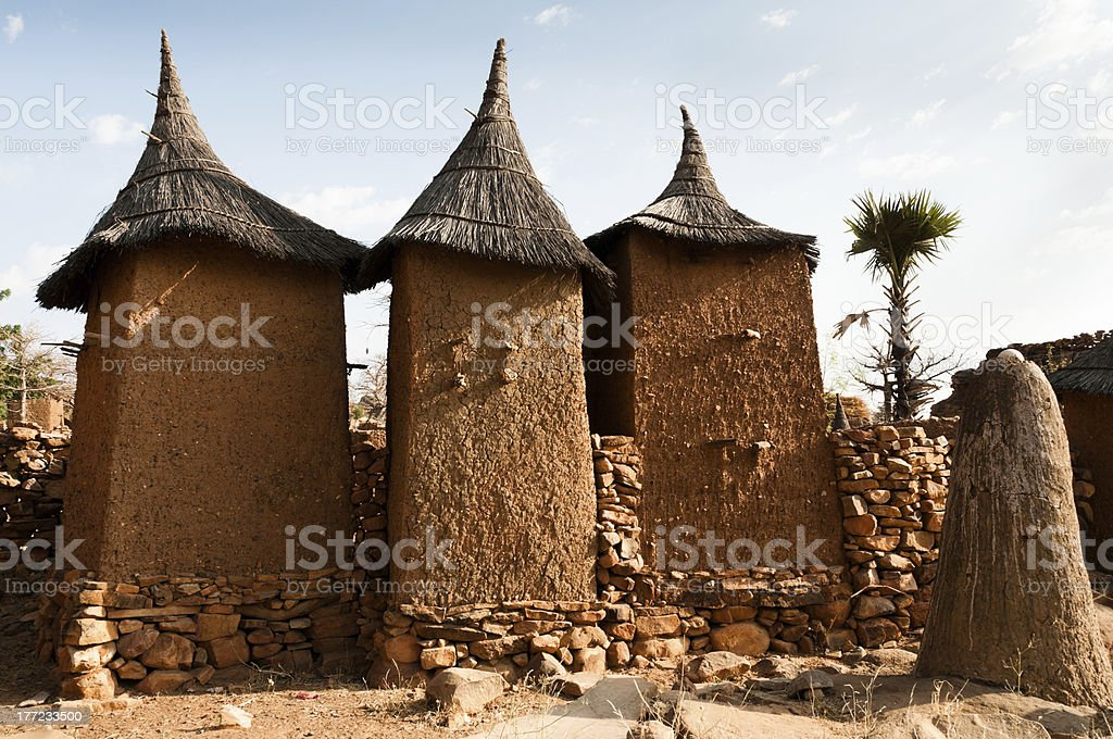 Granaries in a Dogon Village stock photo