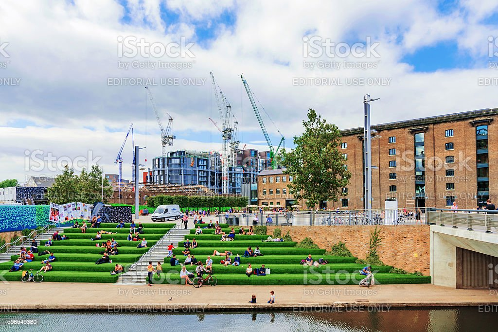 granary square with central saint martins stock photo