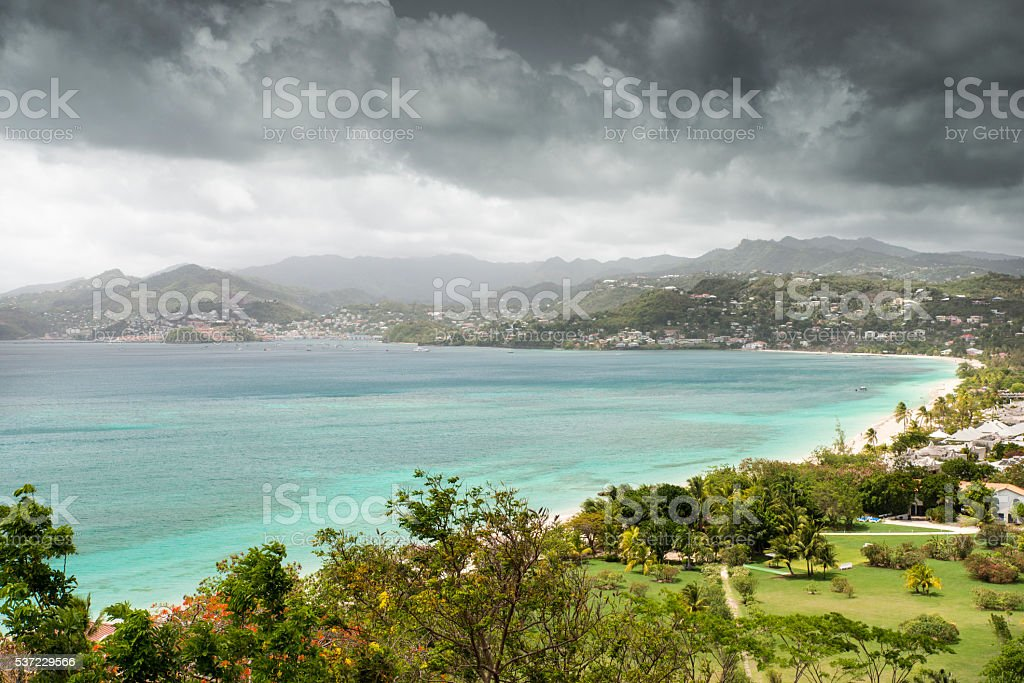 Grand Anse Bay from above royalty-free stock photo