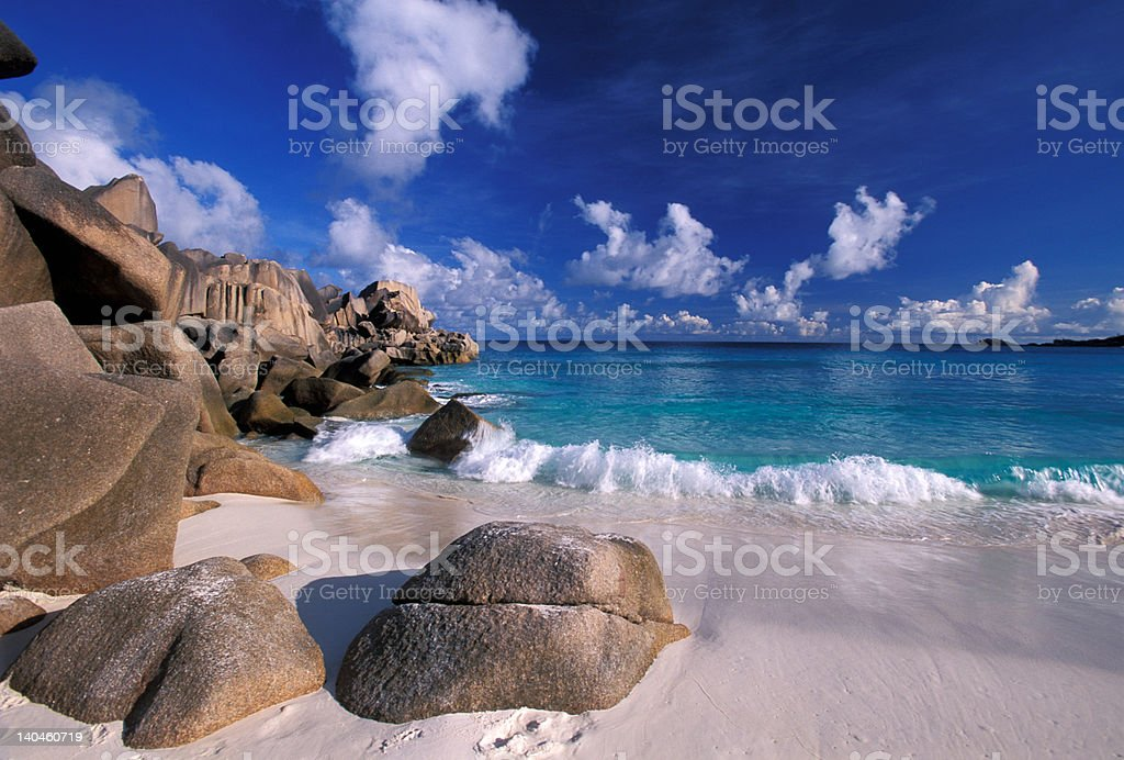 Grand Anse in La Digue island royalty-free stock photo