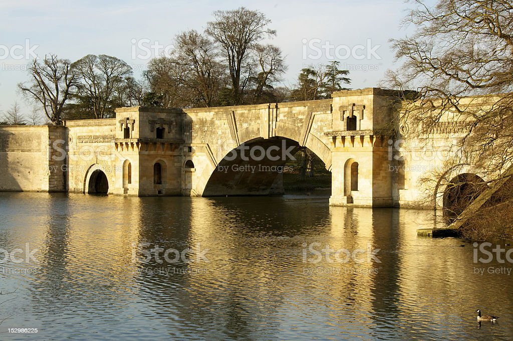 Grand Bridge, Blenheim Palace stock photo